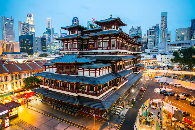 Buddha Toothe Relic Temple ,China Town area in Singapore with twilight time.